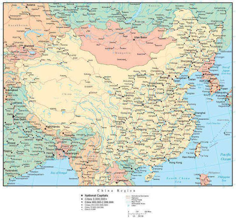 China Region Map with Countries, Capitals, Cities, Roads and Water Features