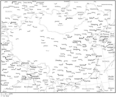Black & White China Map with Countries, Capitals and Major Cities - CHN-XX-533940