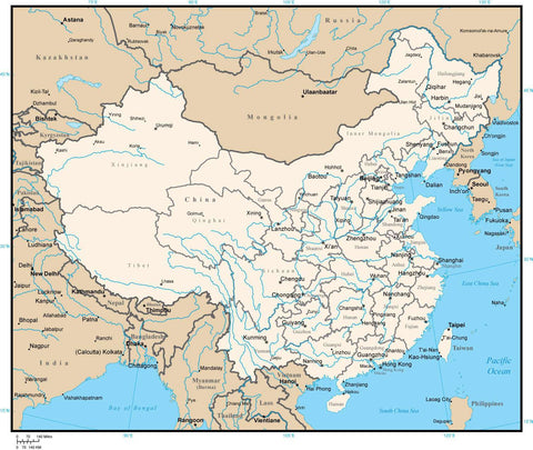 China Digital Vector Map with Provinces