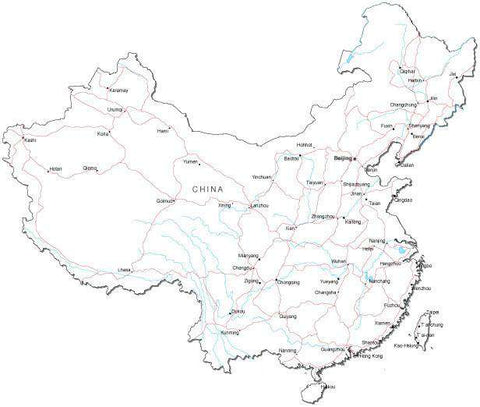 China Black & White Map with Capital, Major Cities, Roads, and Water Features