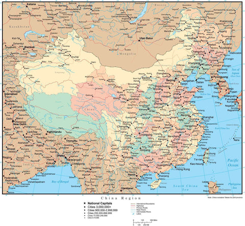 China Page Size Digital Map with Provinces and Highway Network