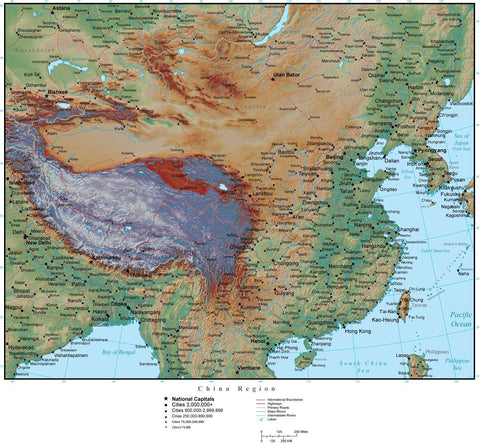 China Region in Adobe Illustrator vector format with Photoshop terrain image CHN-XX-952958