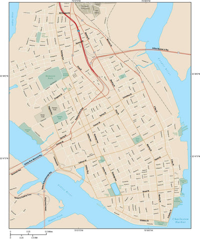 Charleston Map Adobe Illustrator Vector Format CHS-XX-984069