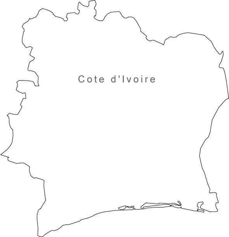 Digital Black & White Cote d'Ivoire map in Adobe Illustrator EPS vector format
