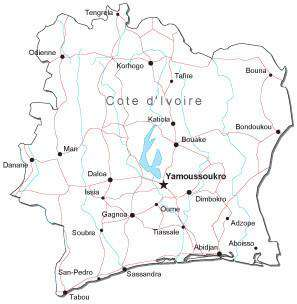 Cote d'Ivoire Black & White Map with Capital, Major Cities, Roads, and Water Features