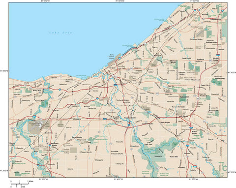 Cleveland Map Adobe Illustrator vector format CLE-XX-984728