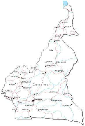 Cameroon Black & White Map with Capital, Major Cities, Roads, and Water Features