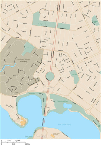 Canberra Map Adobe Illustrator Vector Format CNB-XX-985440