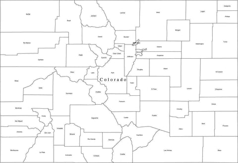 Black & White Colorado Digital Map with Counties