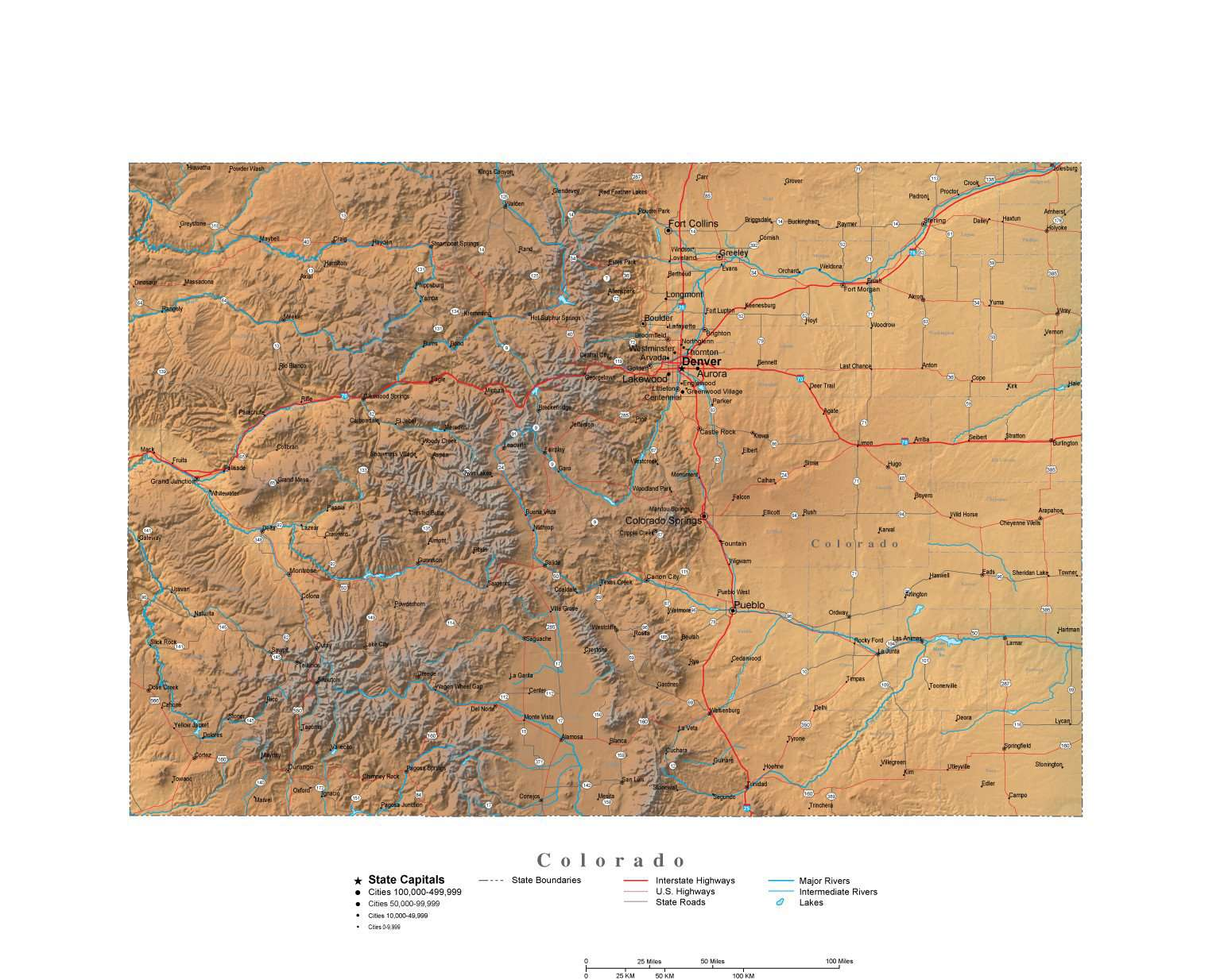 Colorado Illustrator Vector Map with Cities, Roads and Photoshop ...