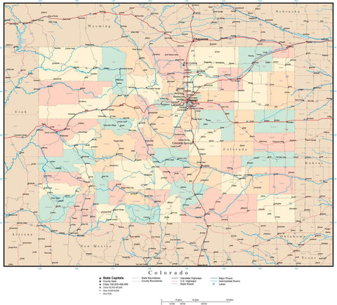 Colorado Map with Counties, Cities, County Seats, Major Roads, Rivers and Lakes