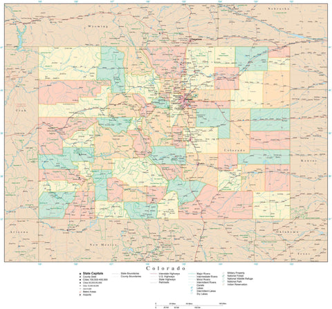 Detailed Colorado Digital Map with Counties, Cities, Highways, Railroads, Airports, and more