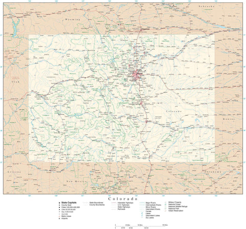 Poster Size Colorado Map with County Boundaries, Cities, Highways, National Parks, and more