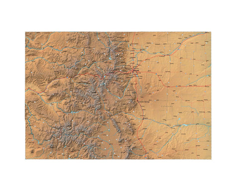 Digital Colorado Terrain map in Fit Together style with Terrain CO-USA-852135