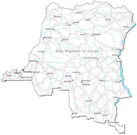 Democratic Republic of Congo Black & White Map with Capital, Major Cities,  Roads, and Water Features