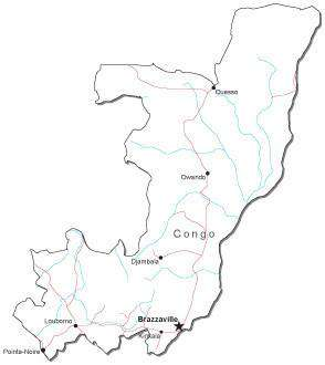 Congo Black & White Map with Capital, Major Cities, Roads, and Water Features