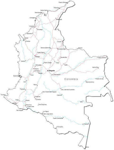 Colombia Black & White Map with Capital, Major Cities, Roads, and Water Features
