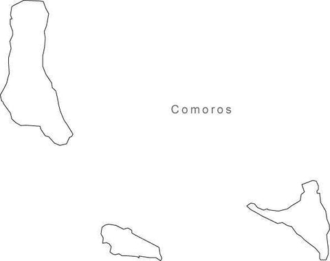 Digital Black & White Comoros map in Adobe Illustrator EPS vector format