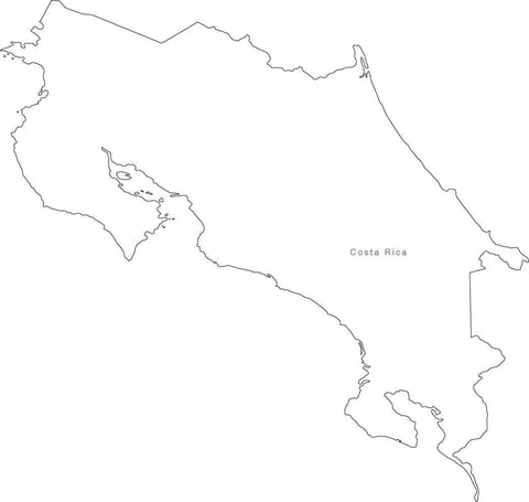 Digital Black & White Costa Rica map in Adobe Illustrator EPS vector format