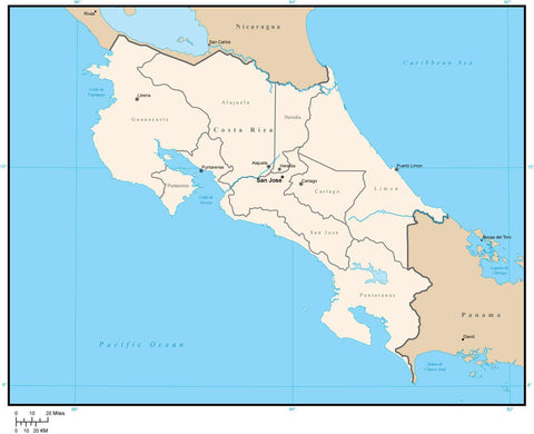 Costa Rica Digital Vector Map with Provinces and Capitals