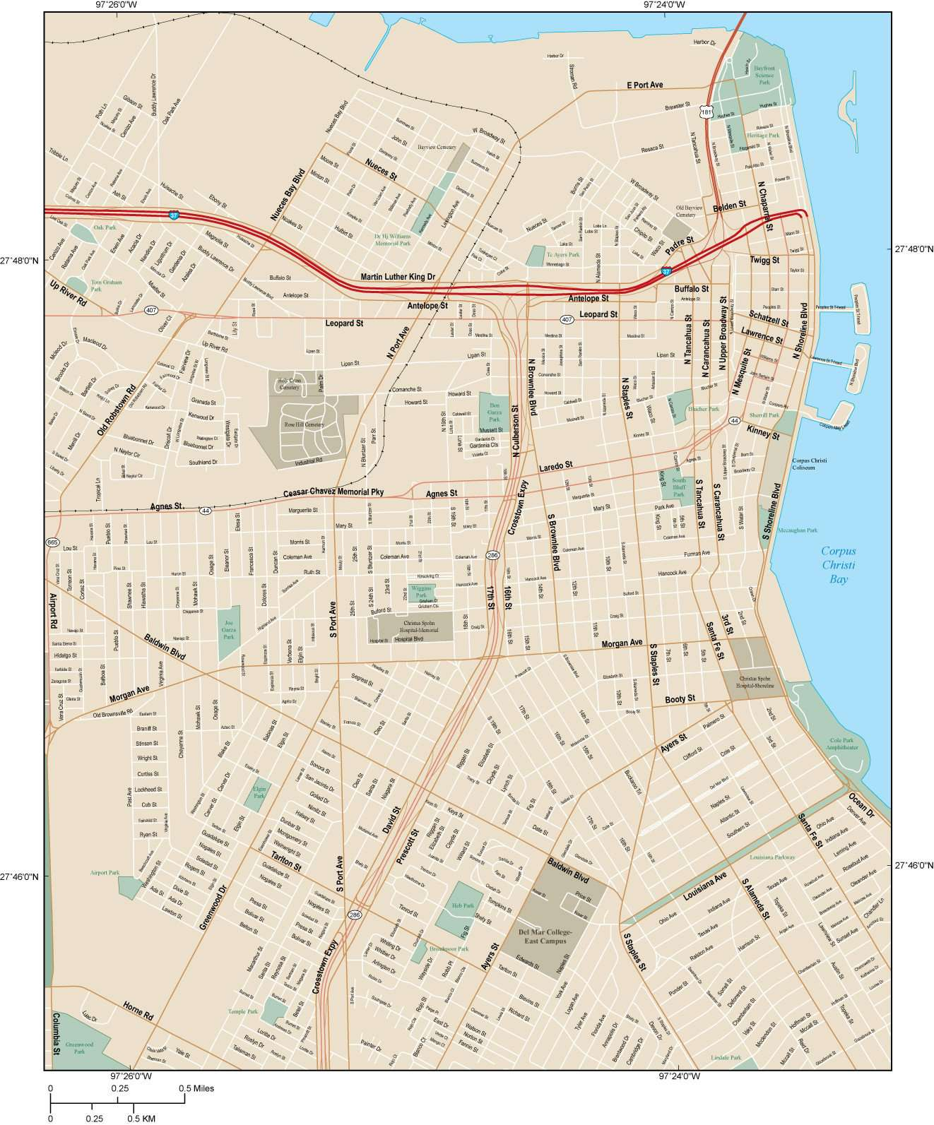 Corpus Christi Map Of Texas.Corpus Christi Tx Map City Center 12 Square Miles With All Local Streets