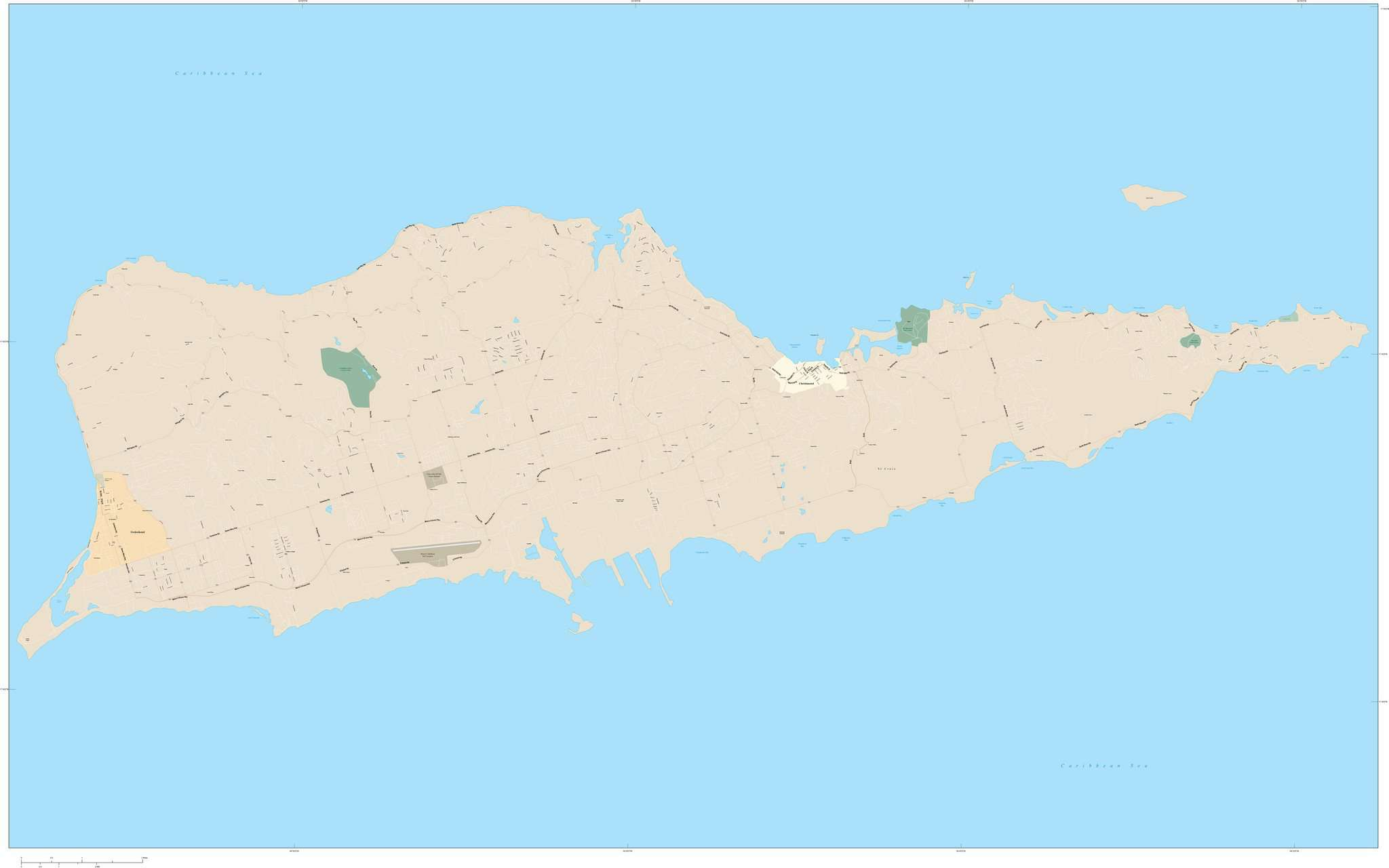 st croix usvi map with local streets