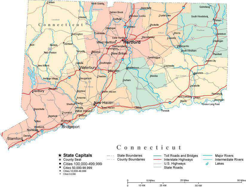 Connecticut State Map - Multi-Color Cut-Out Style - with Counties, Cities,  County Seats, Major Roads, Rivers and Lakes