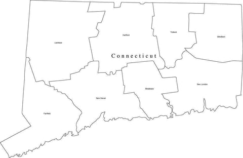 Black & White Connecticut Map with Counties