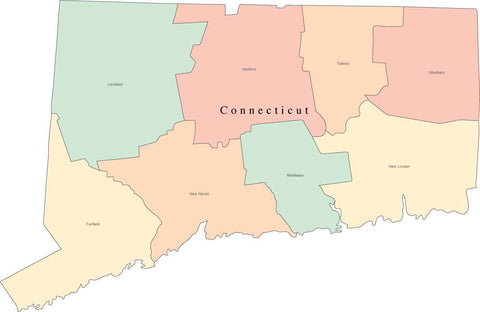 Multi Color Connecticut Map with Counties and County Names
