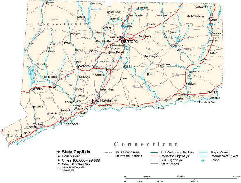 Connecticut with Capital, Counties, Cities, Roads, Rivers & Lakes ...