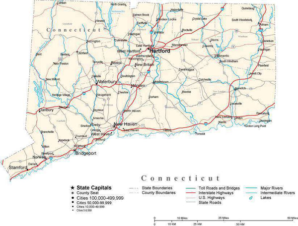 Connecticut with Capital Counties Cities Roads Rivers Lakes