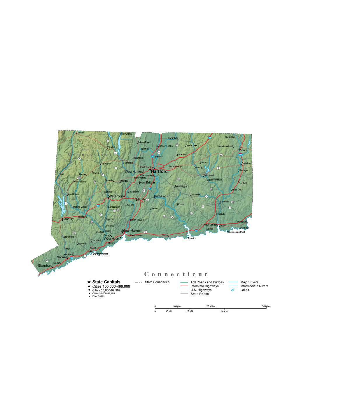 Connecticut Illustrator Vector Map with Cities, Roads and Photoshop ...