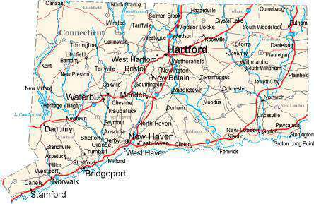 Connecticut State Map in Fit-Together Style to match other states CT ...