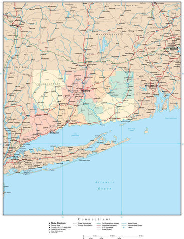Connecticut Map with Counties, Cities, County Seats, Major Roads, Rivers and Lakes