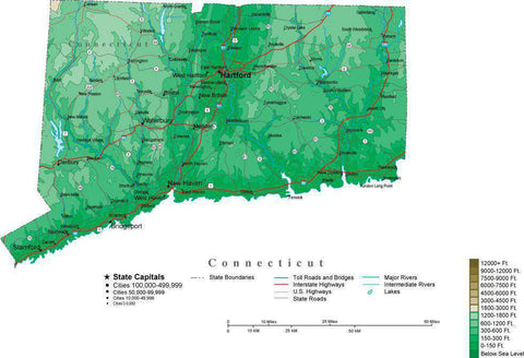 Connecticut Map  with Contour Background - Cut Out Style