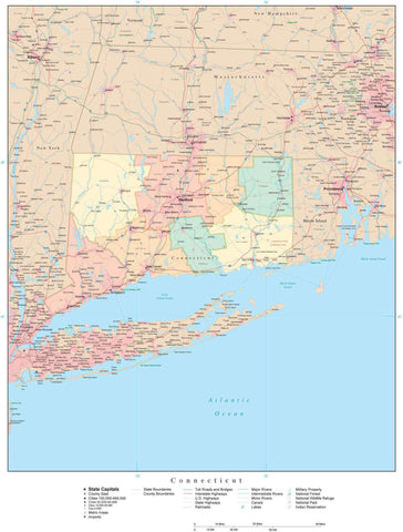 Detailed Connecticut Digital Map with Counties, Cities, Highways, Railroads, Airports, and more
