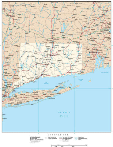Connecticut Map with Capital, County Boundaries, Cities, Roads, and Water Features