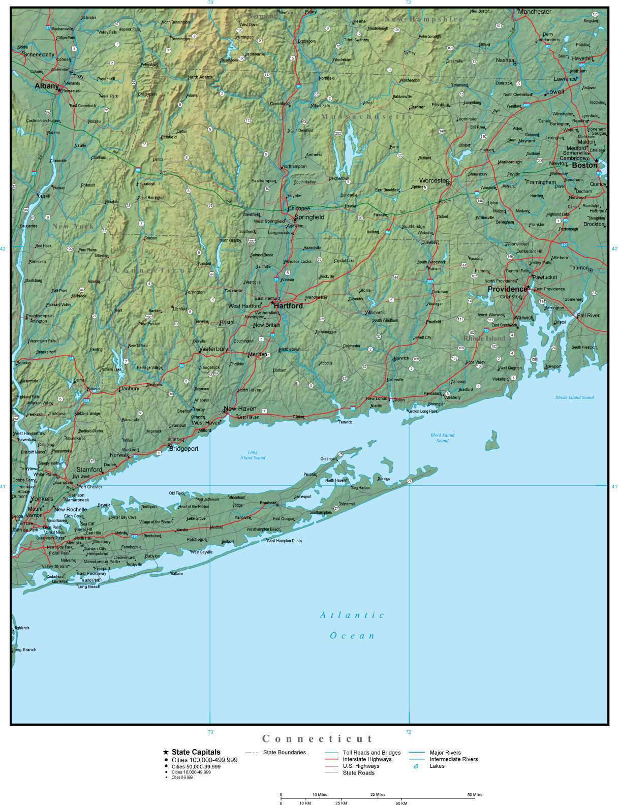 Connecticut Map Plus Terrain with Cities Roads and Water Features