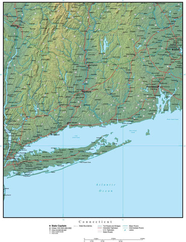 Digital Connecticut Terrain map in Adobe Illustrator vector format with Terrain CT-USA-942239