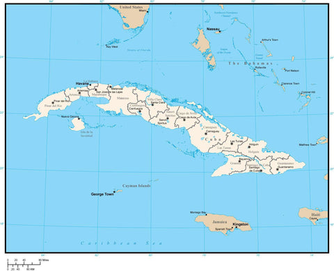 Cuba Map with Provinces and Capitals