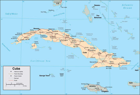 Digital Cuba map in Adobe Illustrator vector format