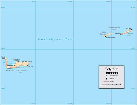 Digital Cayman Islands map in Adobe Illustrator vector format