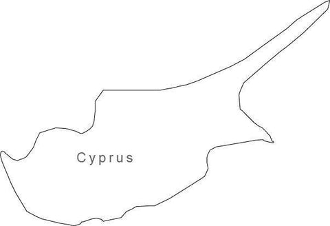 Digital Black & White Cyprus map in Adobe Illustrator EPS vector format