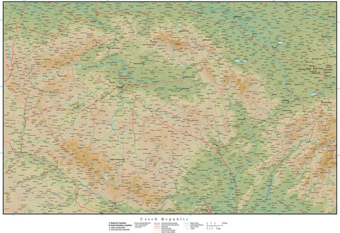 Digital Poster Size Czech Republic Terrain map in Adobe Illustrator vector format with Terrain CZE-XX-165375