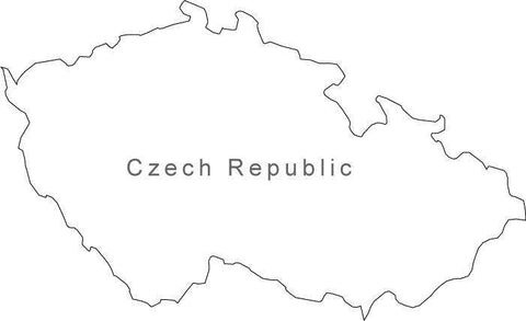 Digital Black & White Czech Republic map in Adobe Illustrator EPS vector format