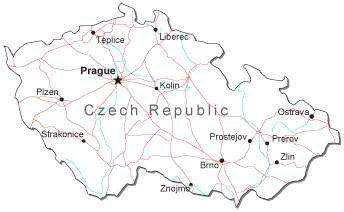 Czech Republic Black & White Map with Capital, Major Cities, Roads, and Water Features