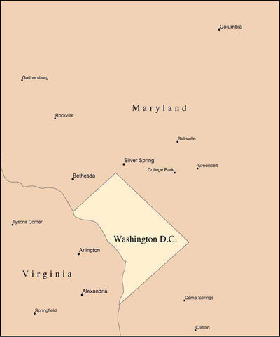 Multi Color Washington, DC Map with Counties, Capitals, and Major Cities