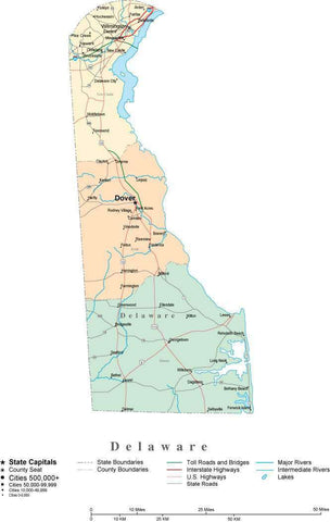 Delaware State Map - Multi-Color Cut-Out Style - with Counties, Cities, County Seats, Major Roads, Rivers and Lakes
