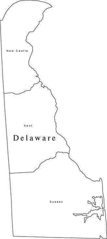 Black & White Delaware Map with Counties