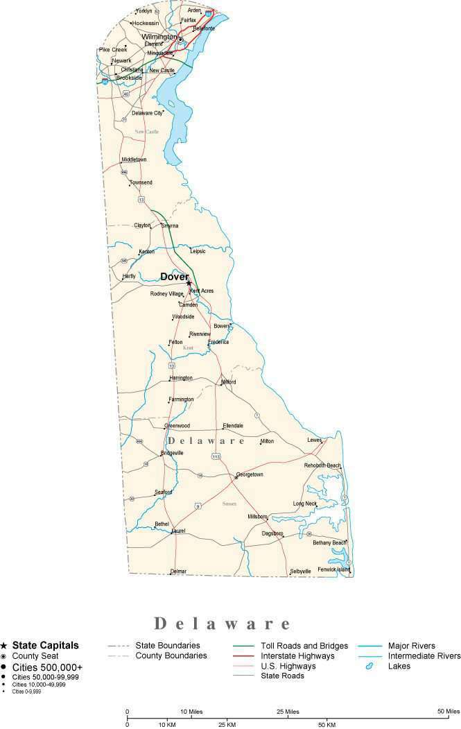 Delaware with Capital, Counties, Cities, Roads, Rivers & Lakes – on